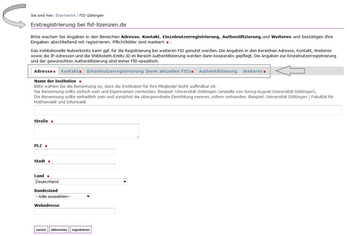 FID - Erstregistrierung Institution