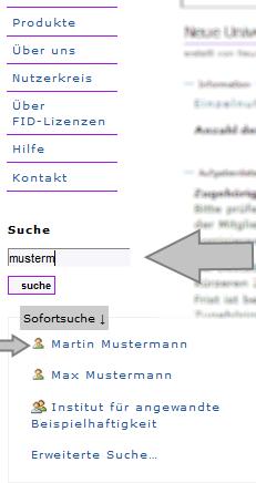Institution - Einzelnutzerverwaltung - Mitglied suchen